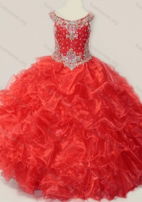 Beautiful Beaded and Ruffled Organza Girls Party  Dress in Red