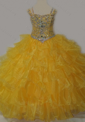 Beautiful Sweetheart Girls Party Dress with Spaghetti Straps in Yellow