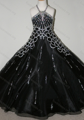 Cheap Beaded Decorated Halter Top and Bodice Girls Party Dress in Black