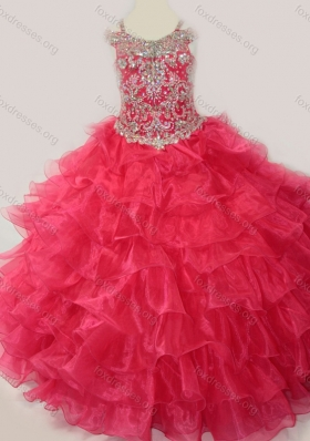 Cute Ball Gown Coral Red Beading and Ruffled Layers Girls Party  Dress with Straps and Off the Shoulder
