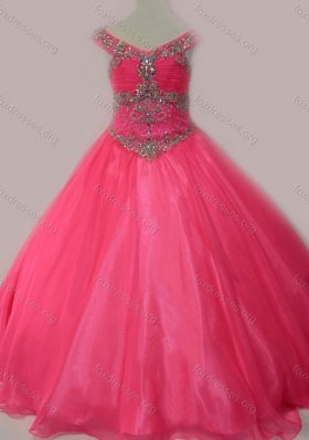 Cute Beaded Bodice Zipper Up Girls Party Dress in Hot Pink
