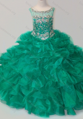 Exquisite Beaded and Ruffled Organza Girls Party Dress in Green