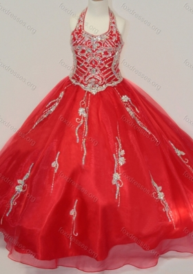 Lovely Organza Halter Top Beaded Girls Party Dress in Red