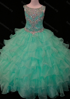 New Arrivals Mint Scoop Girls Party Dress with Beading and Ruffled Layers
