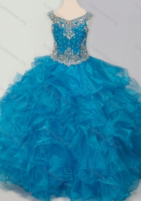 New Style Baby Blue Girls Party Dress with Beading and Ruffles