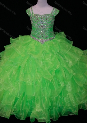 Perfect Sweetheart Ruffled Layer Girls Party Dress with Spaghetti Straps in Spring Green