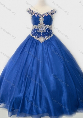 Popular Beaded Bodice Royal Blue Girls Party Dress in Organza