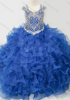 Puffy Skirt V-neck Beaded and Ruffled Layers Girls Party Dress with Straps