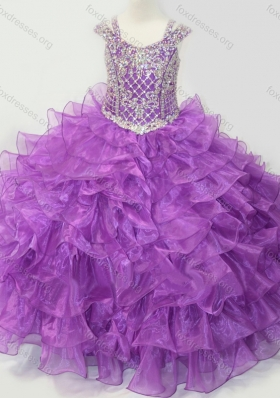 Puffy Skirt V-neck Lace Up Girls Party Dress with Straps and Ruffled Layers