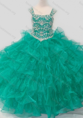 Top Selling Princess Straps Organza Turquoise Lace Up Girls Party Dress with Beading