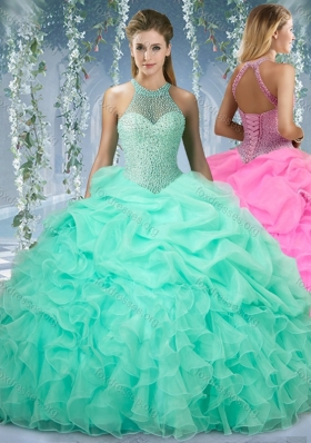 2016 Halter Top Beaded and Ruffled Quinceanera Dresses in Mint
