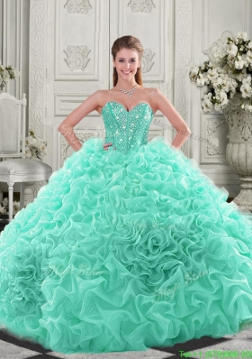2016 Visible Boning Organza Apple Green Quinceanera Dress with Chapel Train
