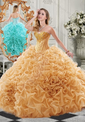 New Arrivals Organza Ruffled Champagne Sweet 16 Gown with Colorful Beading