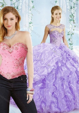 2016 Big Puffy Bubble and Beaded Lavender Quinceanera Dresses in Organza