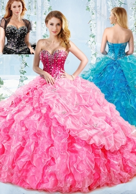 Beautiful Boning Big Puffy Detachable Quinceanera Dress with Ruffles and Beading