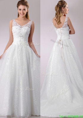 1The Super Hot A Line V Neck Court Train Beaded Wedding Dress in Tulle