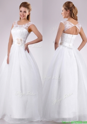 Designer See Through Scoop Organza Wedding Dress with Hand Crafted