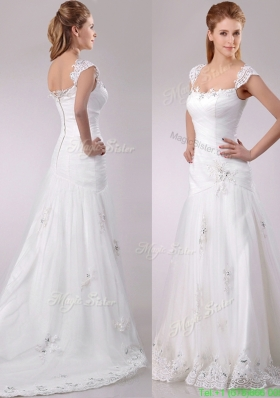 Discount Square Tulle Mermaid Brush Train Wedding Dress with Beading