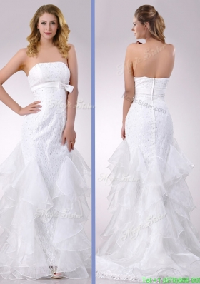 Exquisite Column Strapless Brush Train Beaded Wedding Dress in Organza