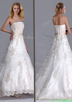 Popular Princess Strapless Applique and Belted Wedding Dresses with Brush Train