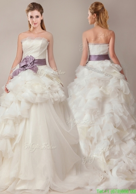Ball Gown Strapless Sophisticated Ruffled and Sashed Wedding Dresses with Brush Train