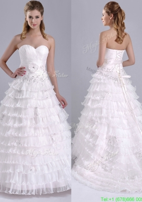 Elegant Princess Sweetheart Beaded and Ruffled Layers Bridal Dress with Court Train