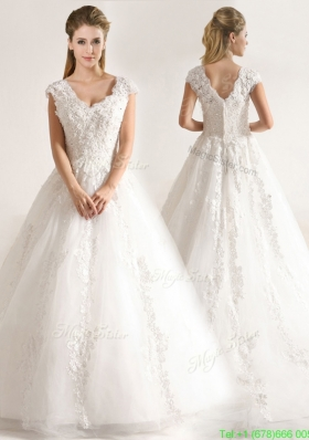 New Style A Line Tull Short Sleeves Wedding Dresses with Beading and Appliques