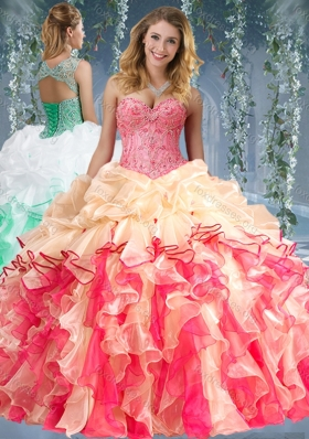 2016 Beautiful Really Puffy Red and Champagne Beaded and Ruffled Quinceanera Dress