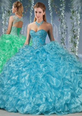 Beautiful Beaded and Ruffled Big Puffy Quinceanera Dress in Aqua Blue