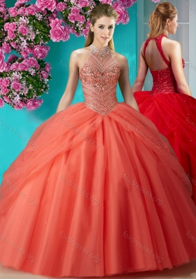 Beautiful Halter Top Beaded and Applique Quinceanera Dress in Orange Red