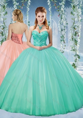 Beautiful Taffeta Beaded Puffy Skirt Quinceanera Dress in Turquoise