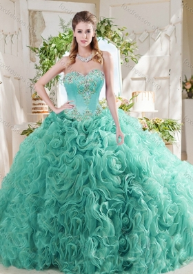 Luxurious Rolling Flower Big Puffy Mint Quinceanera Dress with Beading