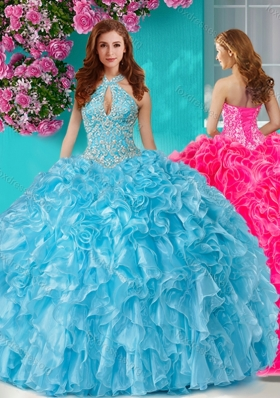 Pretty Beaded and Ruffled Big Puffy Quinceanera Dress with Halter Top