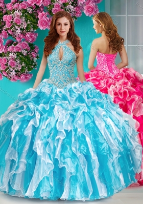 Beautiful Beaded and Ruffled Halter Top Quinceanera Dress in Baby Blue and White