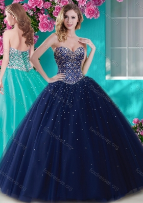 Cheap Big Puffy Tulle Quinceanera  Gown with Beading  and Rhinestone