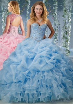 Cheap Brush Train Big Puffy Quinceanera Gowns with Beading and Ruffles