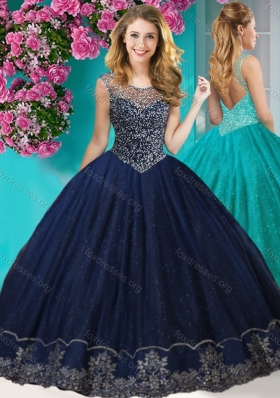 Cheap See Through Scoop Quinceanera Gown with Beading and Appliques