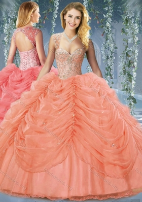 Cute Beaded and Bubble Big Puffy Organza Quinceanera Dress in Orange Red