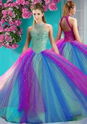 Cute Halter Top Really Puffy Quinceanera Dress with Beading and Appliques