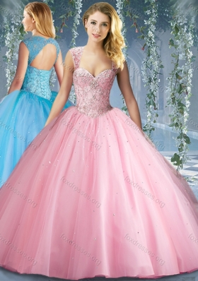 Cute Pink Big Puffy Beaded Quinceanera Dress with Brush Train