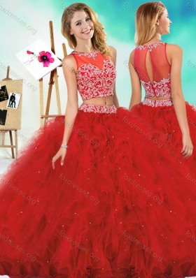 Cute Two Piece Red Quinceanera Dress with Beading and Ruffles
