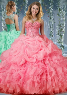 Designer Organza Big Puffy Watermelon Quinceanera Dress with Beading and Ruffles