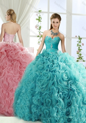Beaded and Applique Big Puffy Detachable Quinceanera Dresses in Aqua Blue