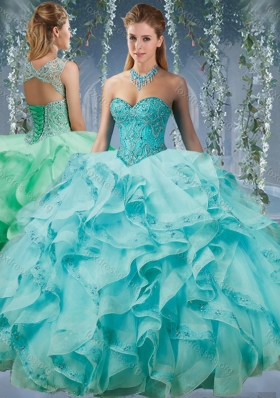 Classical Beaded and Applique Big Puffy Pretty Quinceanera Dress in Aqua Blue