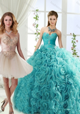 Elegant Big Puffy Rolling Flowers Detachable Quinceanera Dress with Beading and Appliques