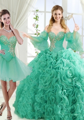 Feminine Beaded Detachable Quinceanera Dresses in Rolling Flower
