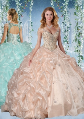 Pretty Beaded Decorated Cap Sleeves Quinceanera Dress with Deep V Neck