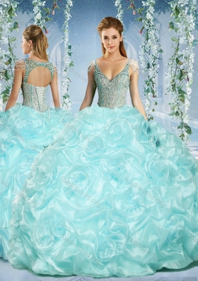 Pretty Cap Sleeves Beaded Light Blue Quinceanera Dress with Deep V Neck