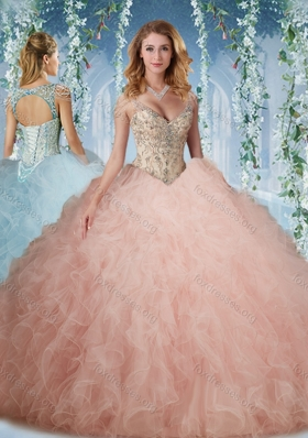 Pretty Deep V Neck Peach Quinceanera Dress With Beading and Ruffles