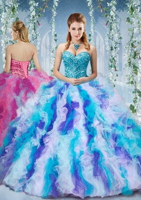 Pretty Rainbow Colored Big Puffy Quinceanera Dress with Beading and Ruffles